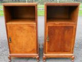 Pair Queen Anne Style Walnut Bedside Cabinets